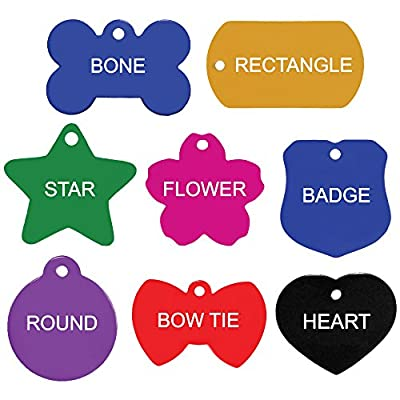 Quality Pet ID Tags for Dogs and Cats - Bone, Round, Heart, Bow Tie, Badge, Star, Flower, and Rectangle. Front & Backside Engraving. Various Colors and Sizes. Anodized Aluminum.