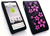 EMARTBUY LG GT540 OPTIMUS LCD SCREEN PROTECTOR AND SILICON CASE/COVER/SKIN FLORAL BLACK/PINK