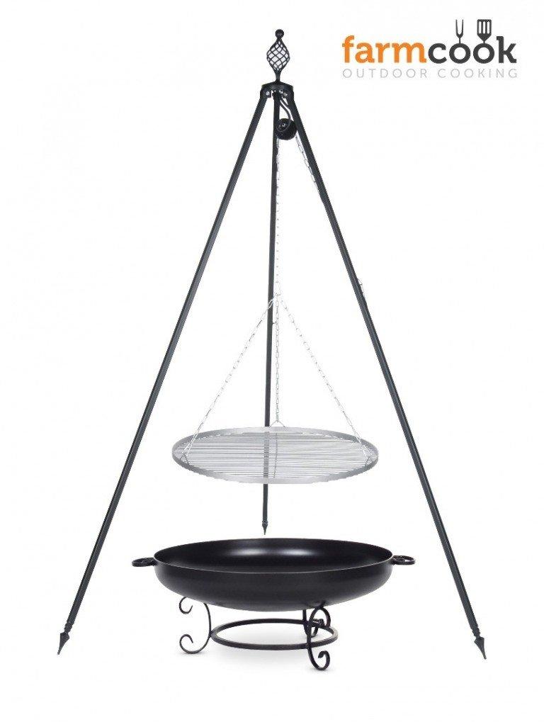 Dreibein Grill OSKAR Höhe 210cm + Grillrost aus Edelstahl Durchmesser 80cm + Feuerschale Pan42 Durchmesser 80cm bestellen