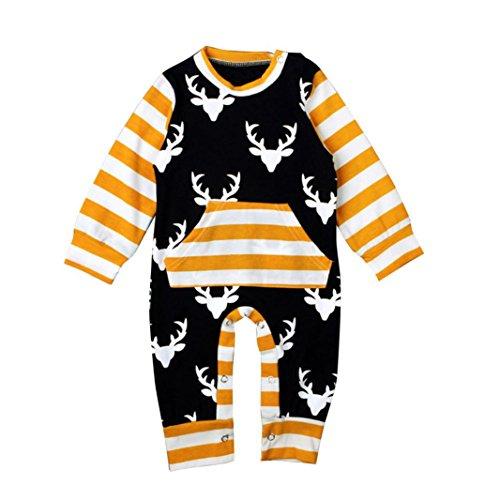 1 Set Baby Girls Boy Outfit WensLTD Elk Stripe Bodysuit Romper Jumpsuit Playsuit (3-6M, Black)
