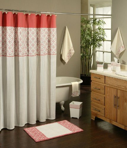 sherry kline romance luxury embroidered fabric shower curtain in coral u0026 white