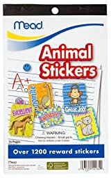 Mead Animal Stickers Book, 9-1/2 x 5-3/4-Inches, 1200+ Count (54160)
