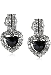14K White Gold Black and White Diamond Earrings (1 Cttw, G-H Color, I1-I2 Clarity)
