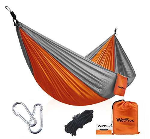 Portable Camping Hammock [3rd Generation] Wolfyok(TM) Multifunctional Lightweight Nylon Parachute Outdoor Hammock for Backpacking, Camping, Travel, Beach, Backyard, Orange/Gray (Hammock Outdoor compare prices)
