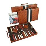 Top Backgammon Set - Classic Board Game Case - Best Strategy & Tip Guide - Available in Small, Medium and Large Sizes By Get the Games Out (Brown, Medium)