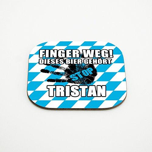 Untersetzer für Gläser mit Namen Tristan und schönem Motiv - Finger weg! Dieses Bier gehört Tristan