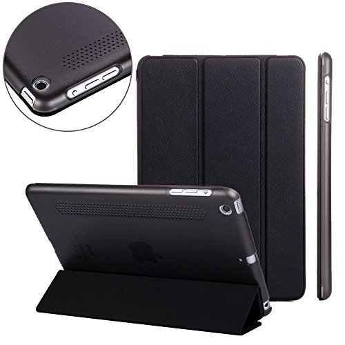 Nouske Apple iPad Retina Mini 1 2 3 Case with Smart Cover / Magnetic / Stand / Synthetic Leather Clear, Black (Ipad Mini Standing Case compare prices)
