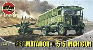 Airfix A01314 AEC Matador & 5.5' Gun 1:76 Scale Series 1 Plastic Model Kit