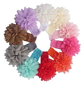 QS® Baby Girl Headbands with Lace Flower (Pack of 10)