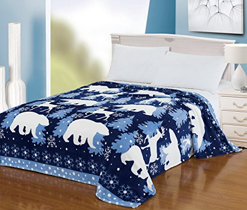 "Euphoria Brand Super Soft Fleece Prints Throw Blanket For Sofa Couch Lounge Bed Bedding Cute Polar Bear Reindeer King 90"" X 80"" front-993729"