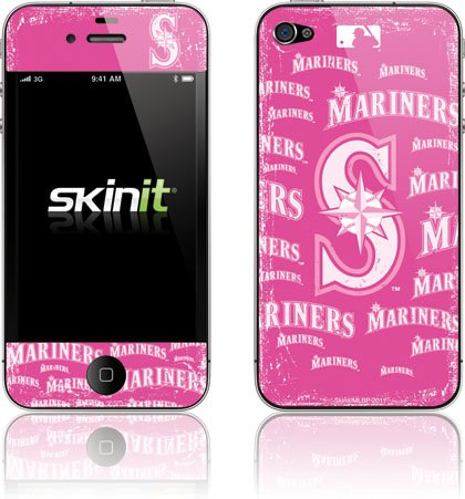 Skinit Seattle Mariners - Pink Cap Logo Blast Vinyl Skin for Apple iPhone 4 / 4S