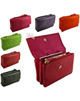 Ladies Quality Soft Leather Credit Card Holder and Coin Zip Purse in 6 colours
