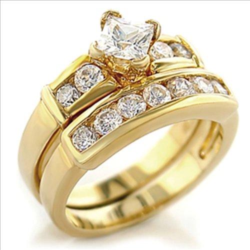 Princess cut 1.5ct cz Bridal Wedding Ring Set Gold-plated Cubic Zirconia (10)