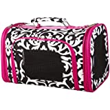 Pink Black Damask Floral Dog Cat Soft-sided Pet Carrier Small, 14-inch