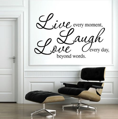 Superb  Detail shop Live Every Moment Laugh Every Day Love Beyond Words Wall Decal Quote Sticker Living Room Decor Wide cm High cm Black Color
