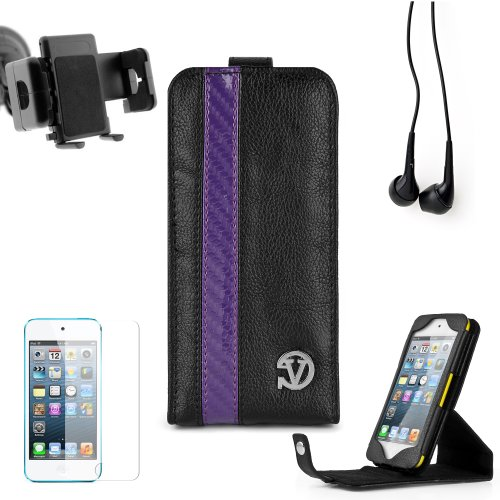 Elegant Vangoddy Repetto Collection Black Thick Grain Leatherette With Purple Carbon Fiber Stripe Apple Ipod Touch Itouch 5 Leather Cover With Vertical Stand - Newest Model + Custom Cut Ipod Touch Itouch 5 Screen Protector + Ipod Touch Itouch 5 Car Mount