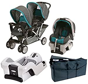 graco duoglider folding double baby stroller with car seat extra car seat base. Black Bedroom Furniture Sets. Home Design Ideas