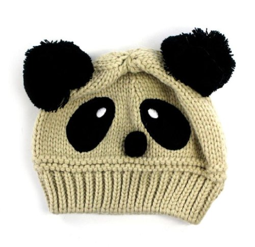 Xhan Fashion Cute Baby Kids Girls Boys Stretchy Warm Winter Panda Cap Hat Beanie (Rice) front-472489