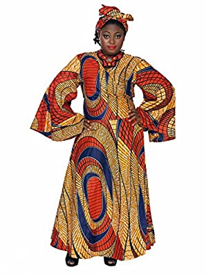 African Planet Cotton Dress Headwrap Ghana Tie Bell Sleeves Africa Wrap Around