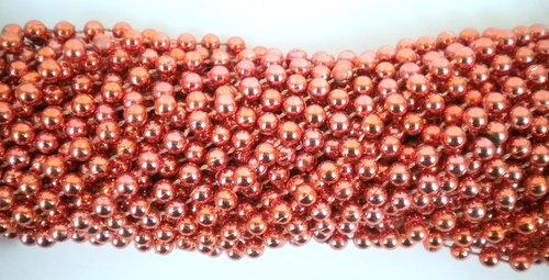 33 inch 07mm Round Metallic Orange Mardi Gras Beads - 6 Dozen (72 necklaces)