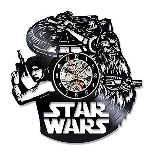 Han Solo Art Star Wars Gift Vinyl Record Wall Clock Fan Black Room Decor Idea
