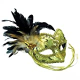 GOLD BROCADE VENETIAN MASQUERADE CARNIVAL PARTY EYE MASK