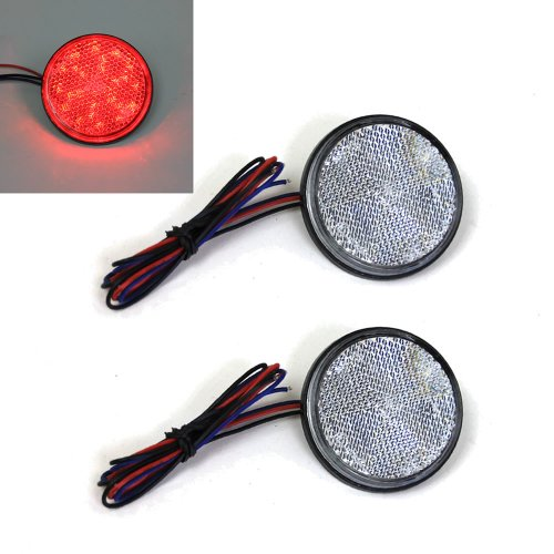 Red Light Clear Lens 24 Led Round Reflectors Tail Brake Stop Marker Light Truck Trailer Rv Atv Motorcycle