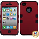 MYBAT IPHONE4AVHPCTUFFSO006NP Premium TUFF Case for iPhone 4 - 1 Pack - Retail Packaging - Titanium Red/Black