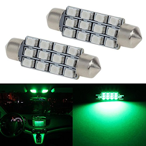 Partsam Green Car LED Lamps 42mm festoon 12SMD Interior Dome Map Lights Bulbs 12V 561 562 578, Pack of 2pcs (Car Charger Green Led Lights compare prices)