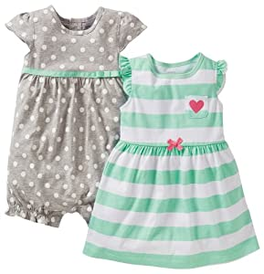 Carter's Girls 3 Piece Cotton Dress Romper Set from Carters