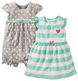 Carters Girls 3 Piece Cotton Dress Romper Set