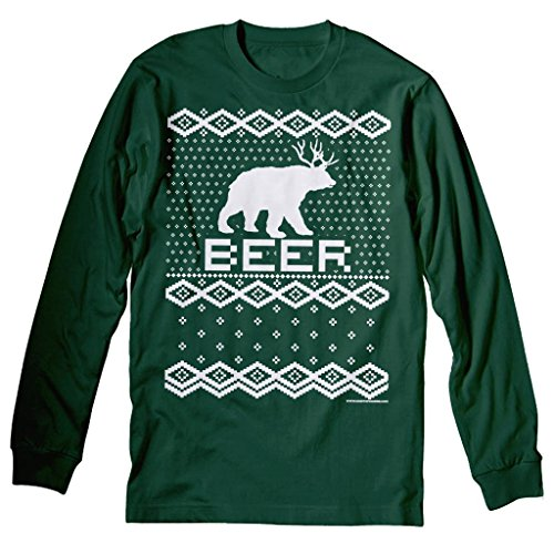 Bear + Deer = Beer Funny Holiday Ugly Christmas Sweater T-Shirt Long Sleeve Forest Green