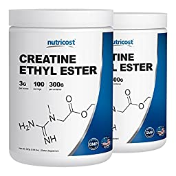 Nutricost Creatine Ethyl Ester (CEE) 300 Gram Bottles (2 Pack)- Pure Creatine Ethyl Ester - Rapid Absorption Creatine - 3000mg Per Serving