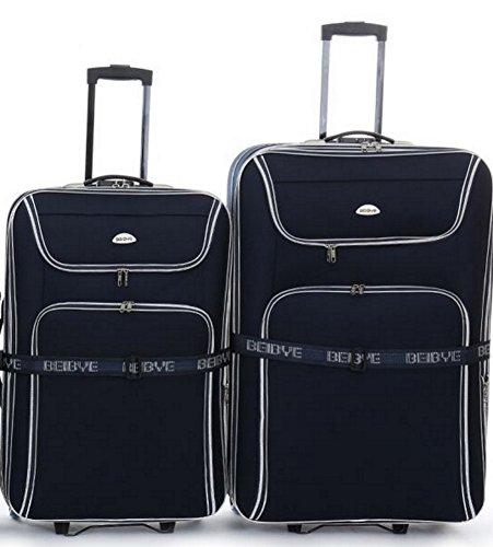 Trolley-valigetta-set - XXL-capacità - 2 carrelli: 86 + 76 cm, estendibile - Nero