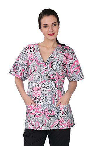 Womens Printed Scrub Tops-2 Pockets Plus Cell Phone Pocket... (3x, 613) (Plus Size Printed Scrub Tops compare prices)