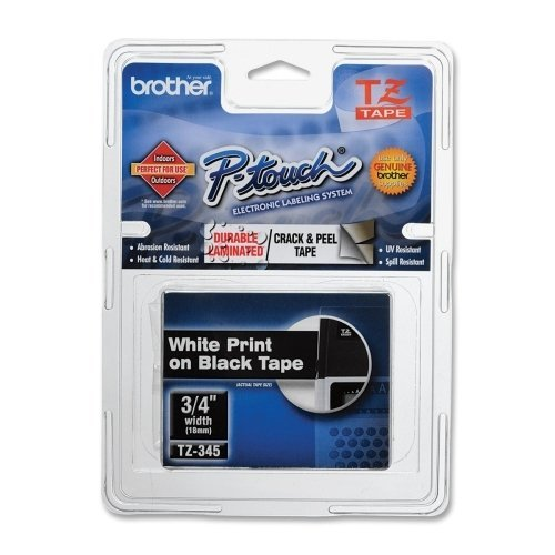 """Brother Tze-345 3/4"""" White On Black Label Tape front-826683"""