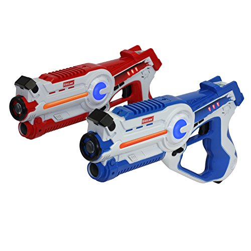 Kidzlane Laser Tag Game - Set of 2 Blue/Red - Laser Gun Indoor and Outdoor Activity