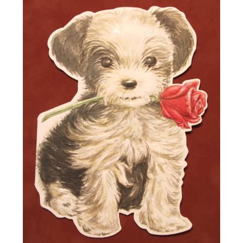 Carol Wilson Valentines Day Card, Puppy w/Rose   Will You Be Mine