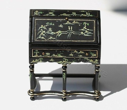 Miniature Fine Furniture Black Handpainted Oriental Desk