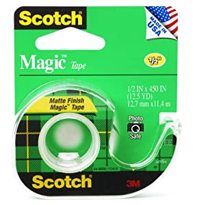 Scotch Magic Tape, 1/2 x 450 Inches, 12 Rolls (104)