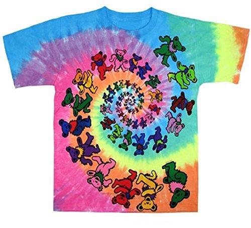 Kiditude Grateful Dead Spiral Bears Kids Tie Dye T-Shirt, Multi (10-12 Years) (Greatful Dead Bear)