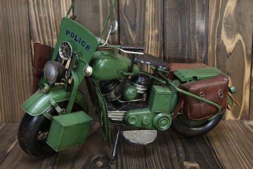 レトロなブリキのおもちゃ 【オートバイ アメリカ軍USミリタリータイプ グリーン】