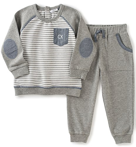 Calvin Klein Baby Pullover with Pockets Pants Set, Gray, 12 Months