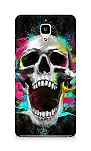 Amez designer printed 3d premium high quality back case cover for Xiaomi Mi 4 (Growl Shouting Skull Colorful)