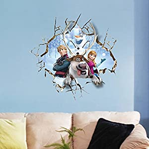 Clest F&H frozen elsa Pegatinas de Pared de la Pintura del Gigante 3D de Alta Definición de Creativa de Moda - BebeHogar.com