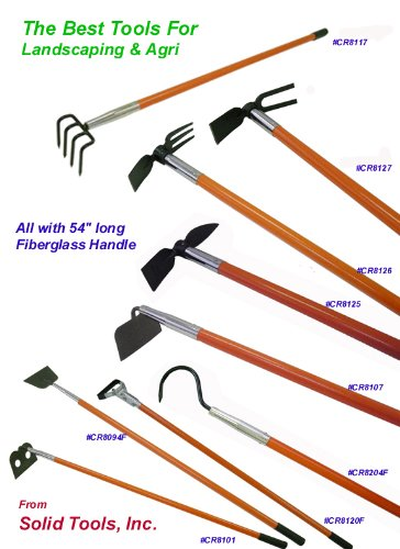 Weeding hoe mattock with 54 long fiberglass handle lawn for Long handled garden tools