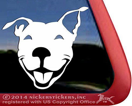 Smiling American Pit Bull Terrier Dog Rescue Car Truck Window Decal Sticker (Window Decals Pitbull compare prices)