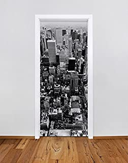 t rtapete t rposter new york bei nacht panoramablick ber die. Black Bedroom Furniture Sets. Home Design Ideas