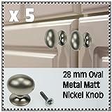 5 set of 28 mm Oval Metal Matt Nickel Door Drawer Cabinet Pull Knob