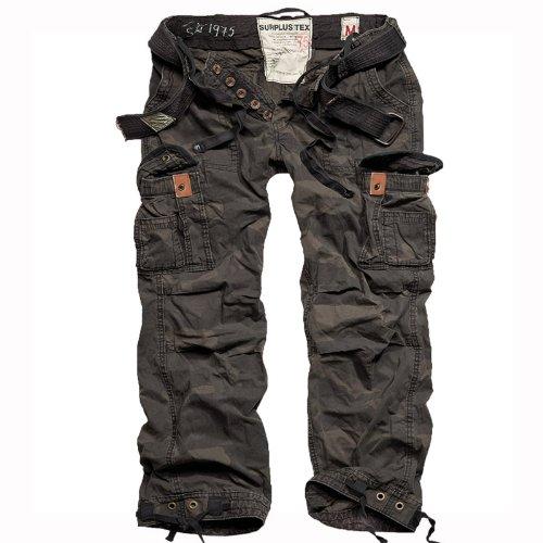 Surplus Premium Vintage Mens Combats Pants Trousers with Belt Work Black Camo